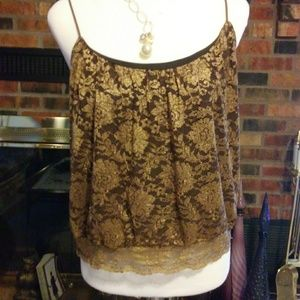 Express Gold Lace and Brown Camisole